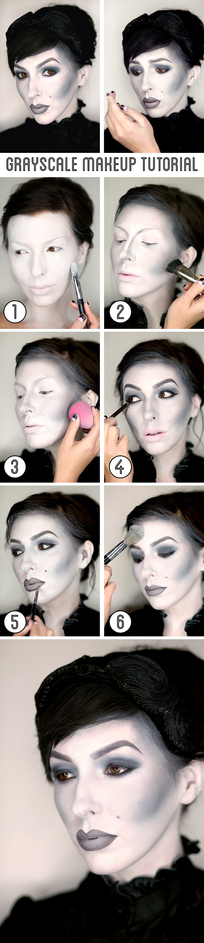 halloween black and white grayscale makeup tutorial