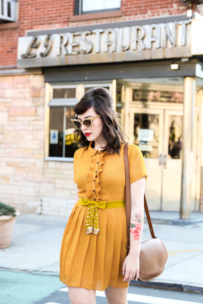 mustard forever 21 dress keiko lynn coach saddlebag