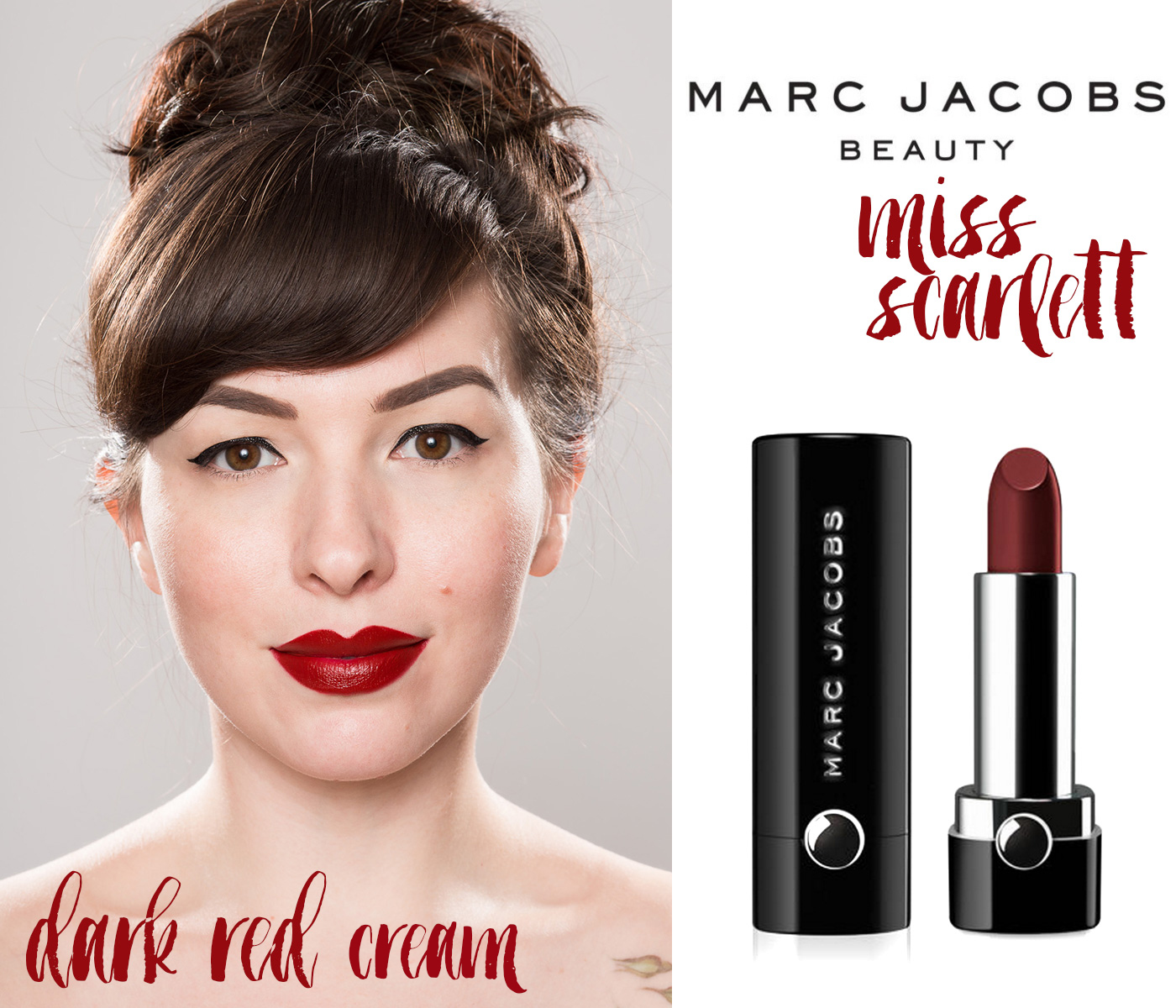 finding the perfect red lipstick: marc jacobs beauty miss scarlett dark red lipstick