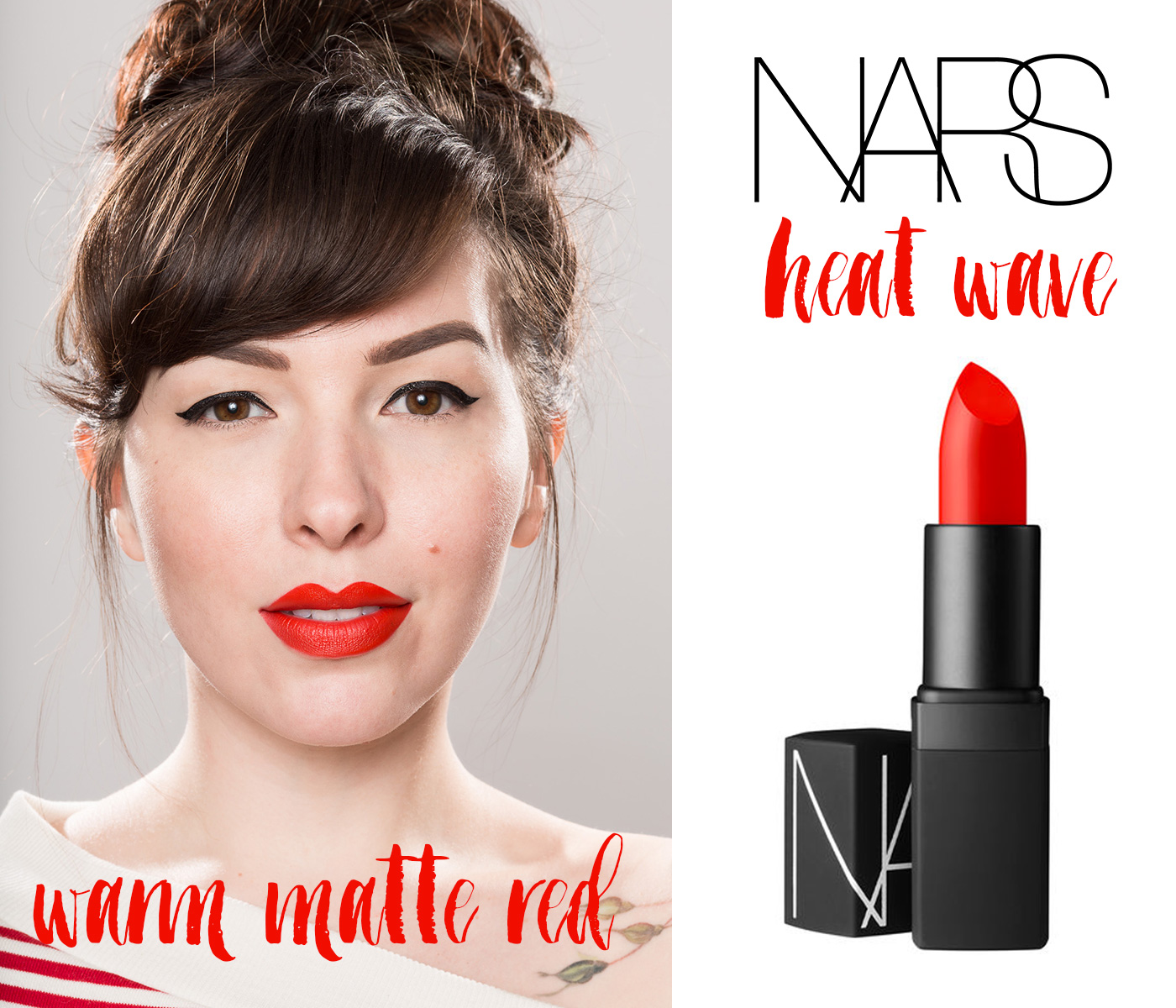 finding the perfect red lipstick: nars heat wave warm matte red lipstick