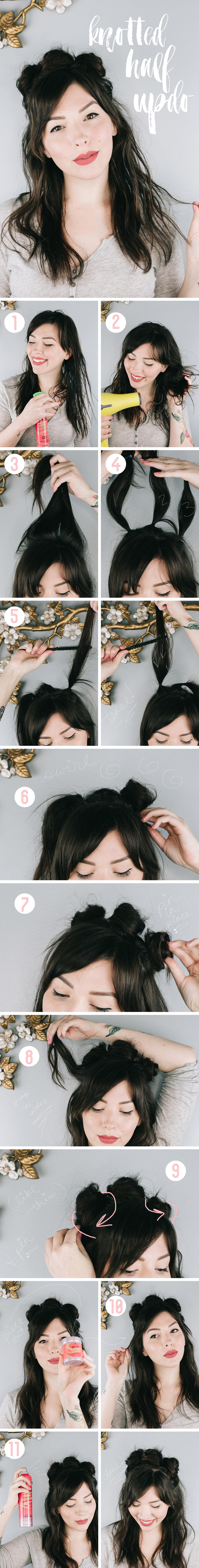 got2b 90s style knotted half updo hair tutorial