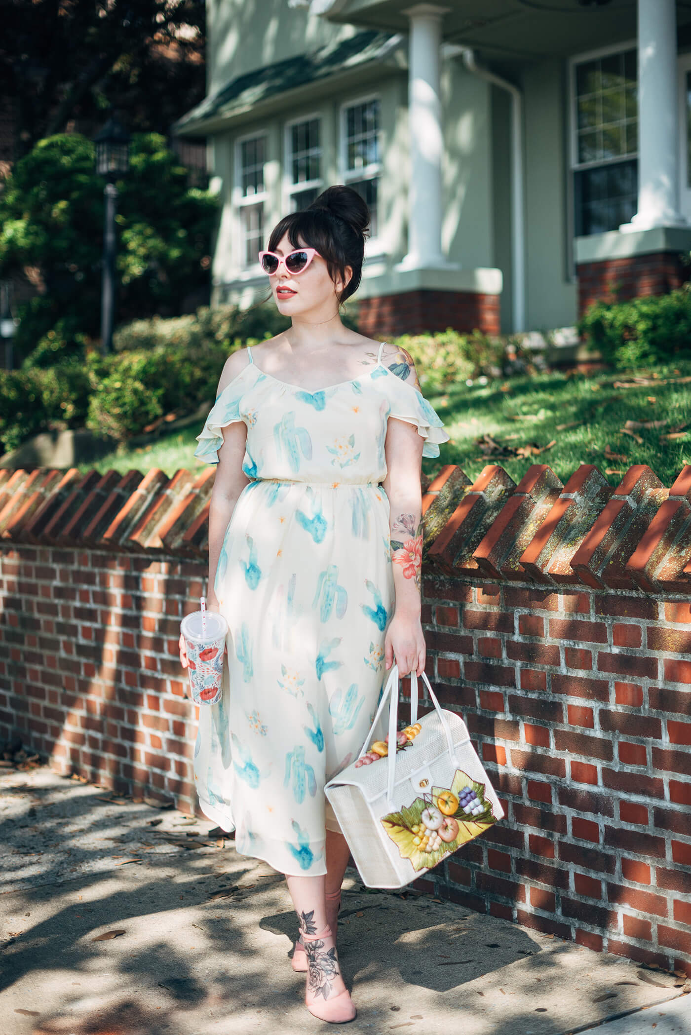 miss patina watercolor cactus dress