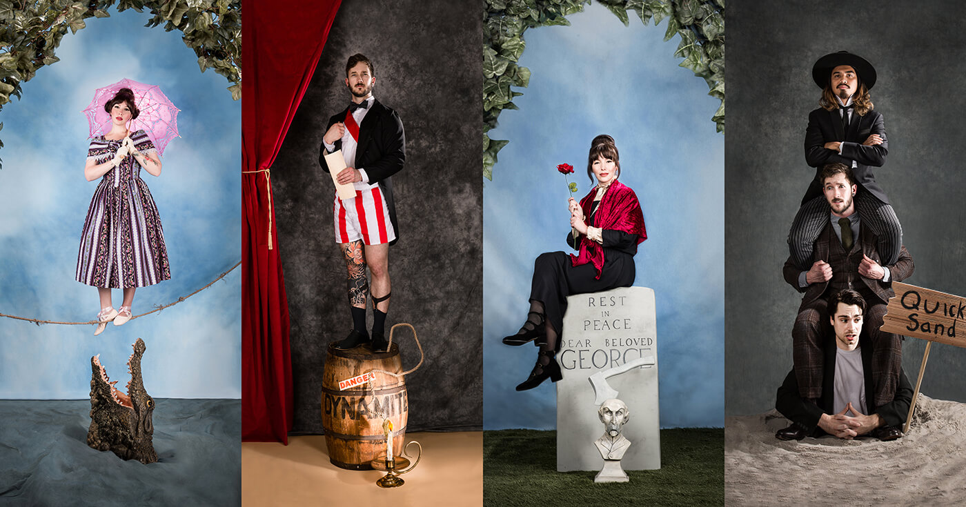 Haunted Mansion Portraits Recreating Stretching