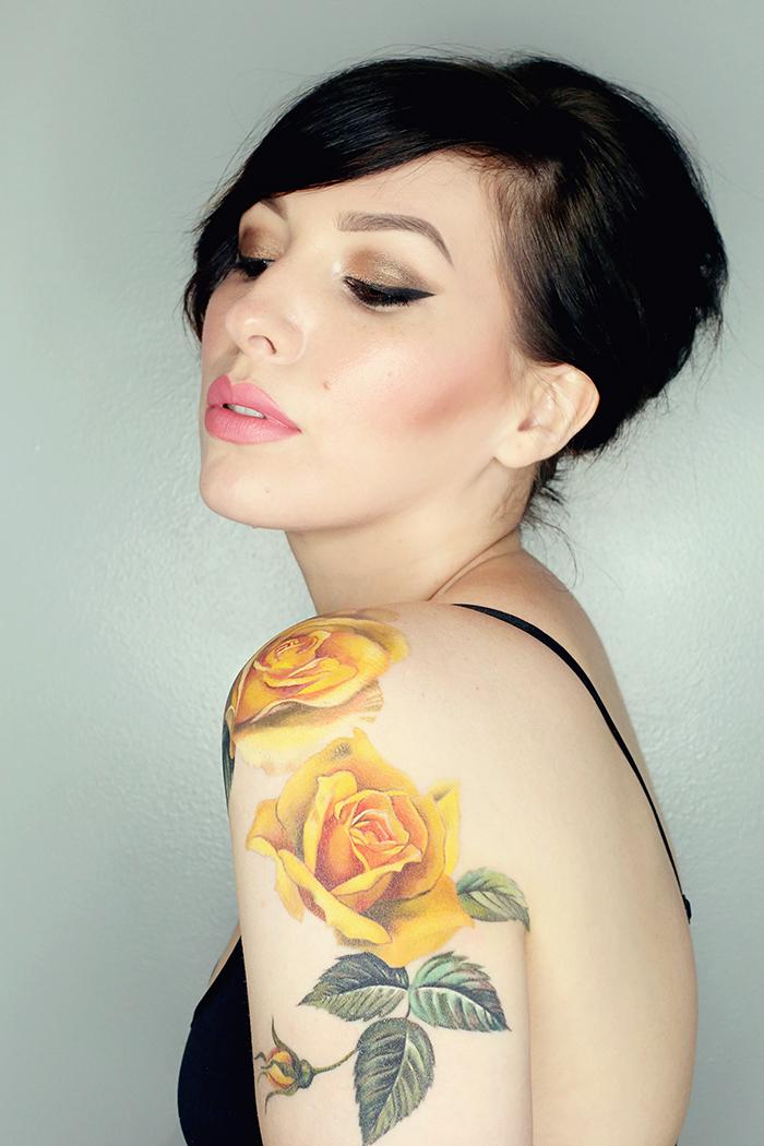 New tattoo by amanda wachob in progress keiko lynn for Yellow tattoo on dark skin