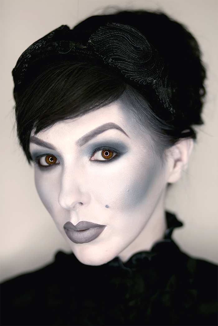 grayscale halloween makeup black and white