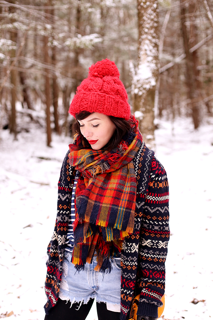 Winter Wear: Plaid Scarf and Fair Isle Sweater - Keiko Lynn