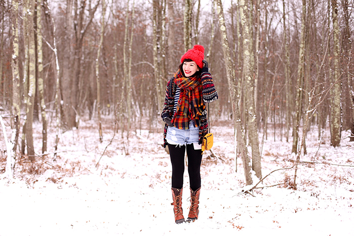 keiko lynn winter outfit sorel boots plaid scarf and fair isle sweater