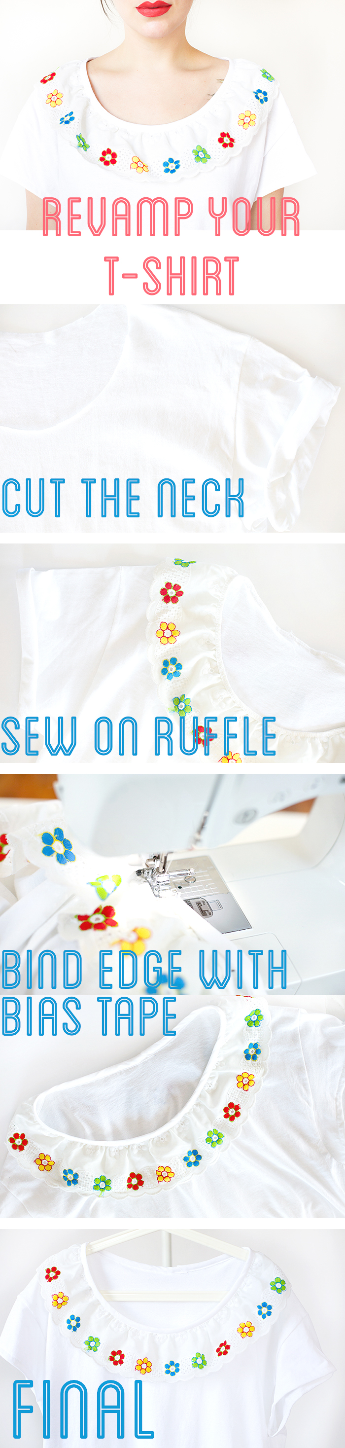 diy ruffle neck t-shirt