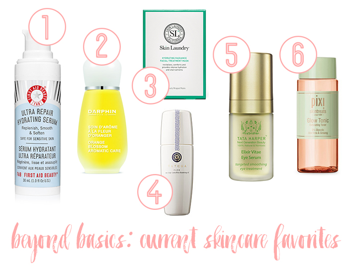 skincare favorites oil serum mask eye cream