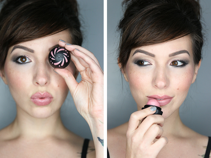 pink and grey shimmer eye tutorial with sheer pink shimmer eos