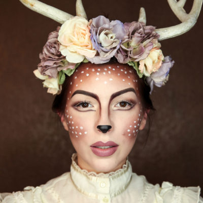 easy deer makeup tutorial for halloween, fawn makeup