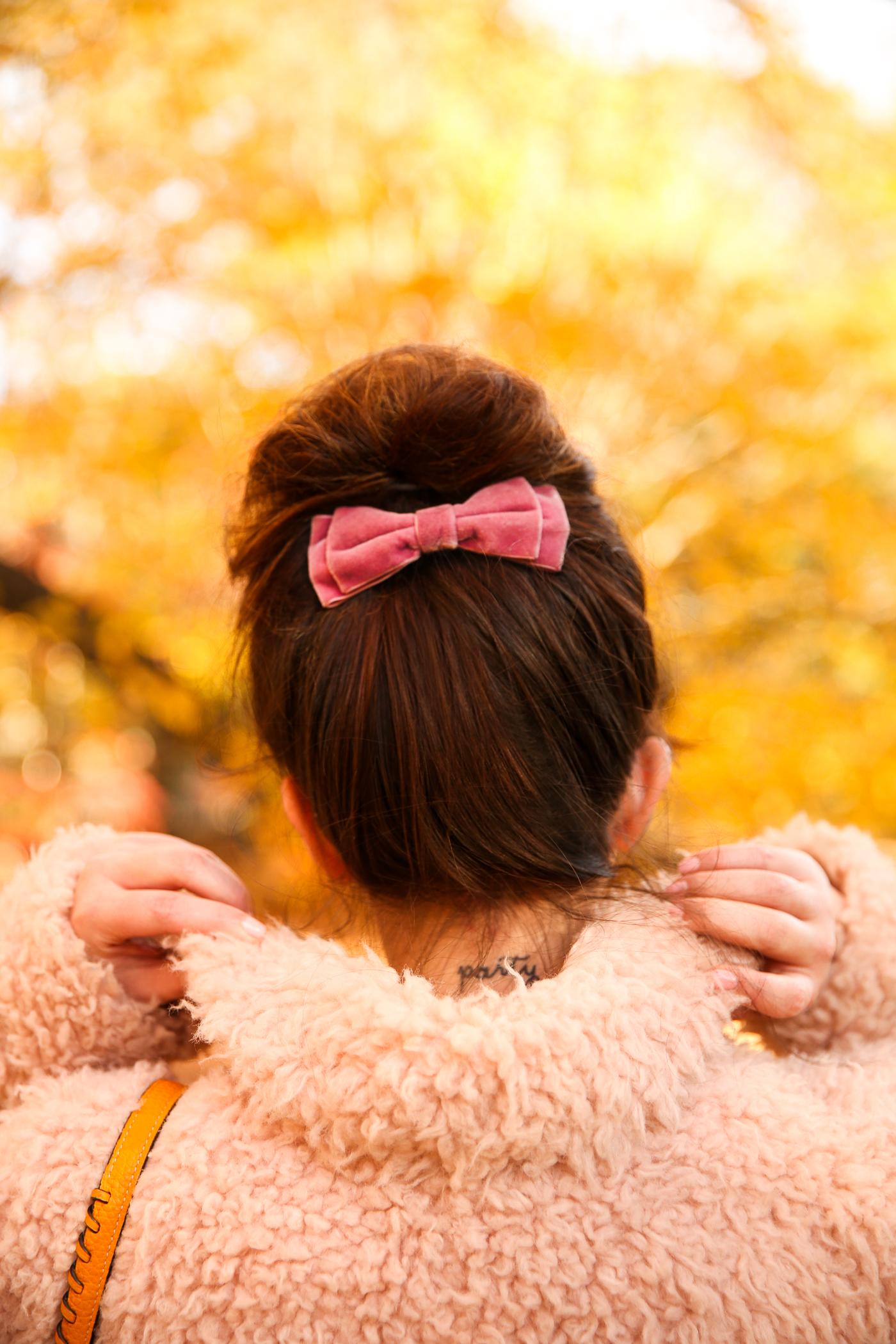velvet hair bow and messy bun