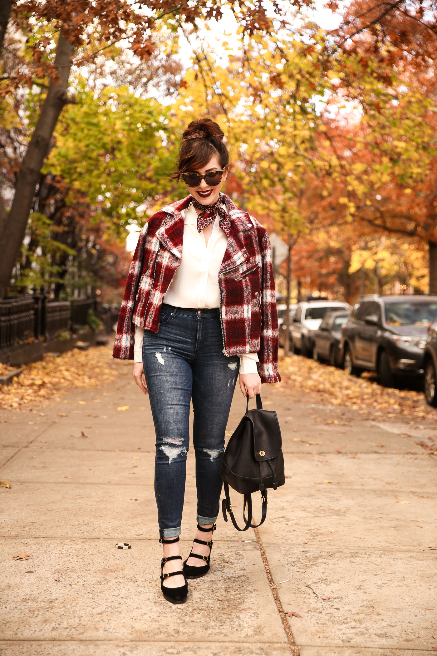 slate and stone plaid moto jacket, free people strappy mary janes