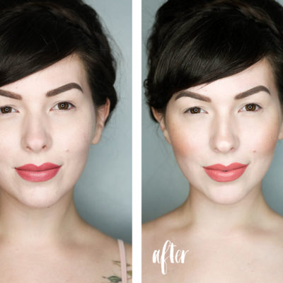 before and after contour highlighter and blush tutorial
