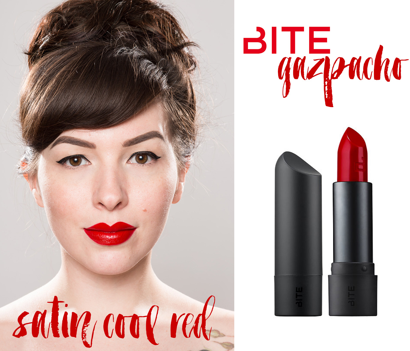 finding the perfect red lipstick: bite beauty red lipstick gazpacho