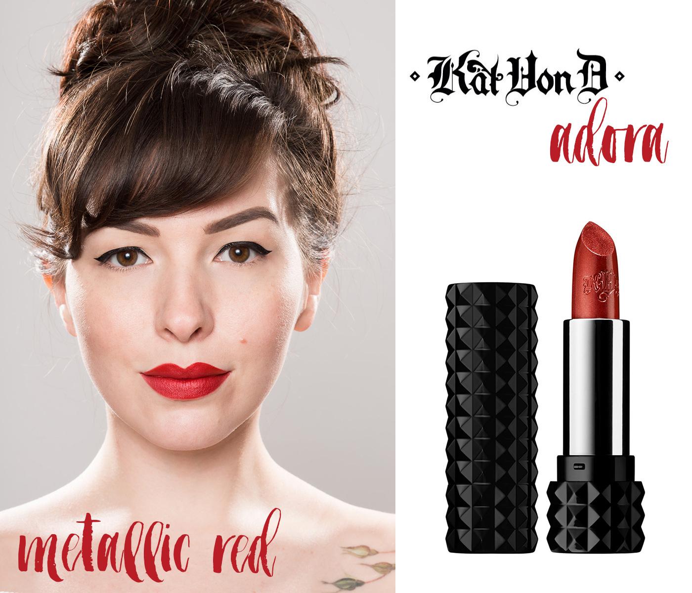 finding the perfect red lipstick: kat von d adora metallic red lipstick