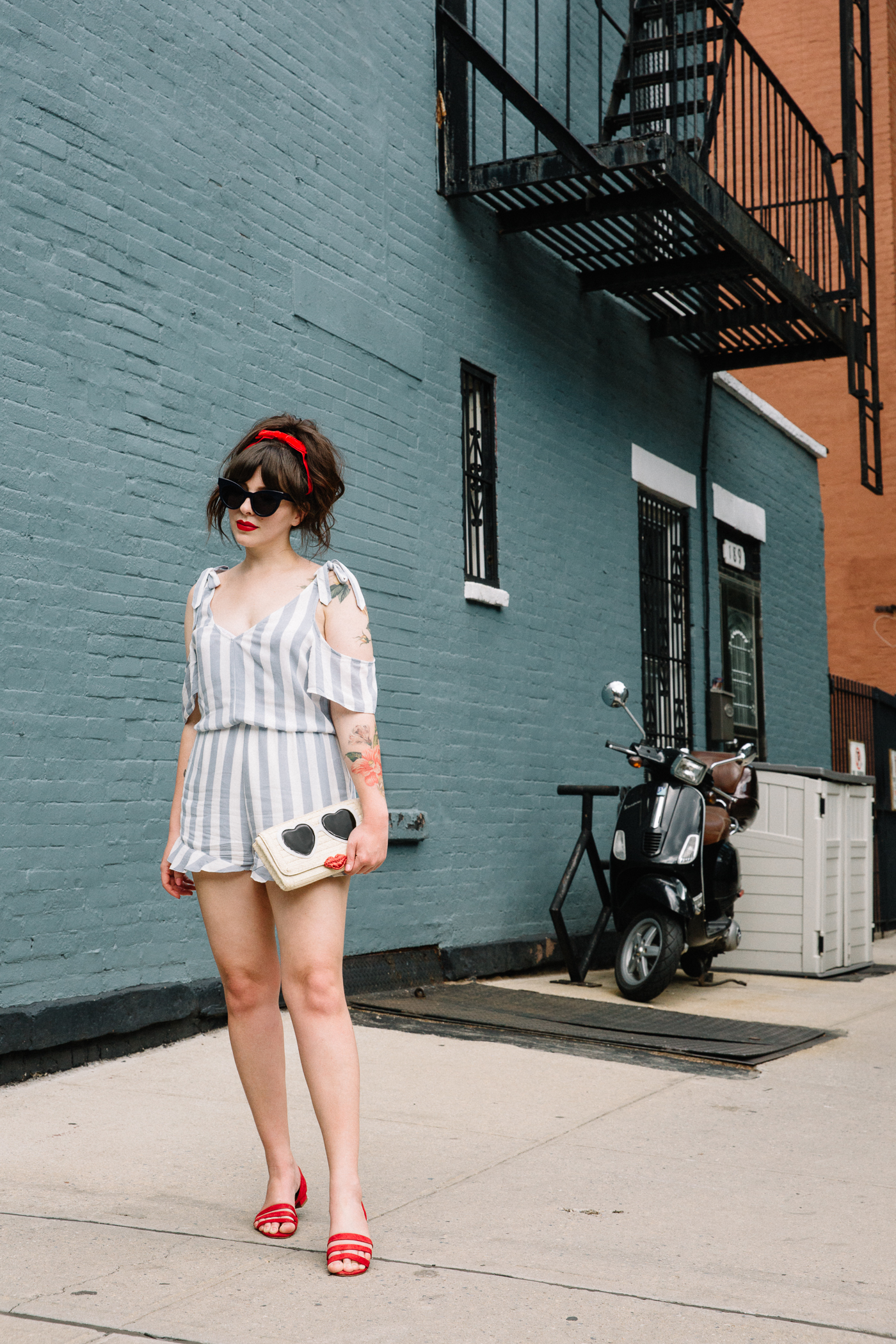 cold shoulder american eagle striped romper