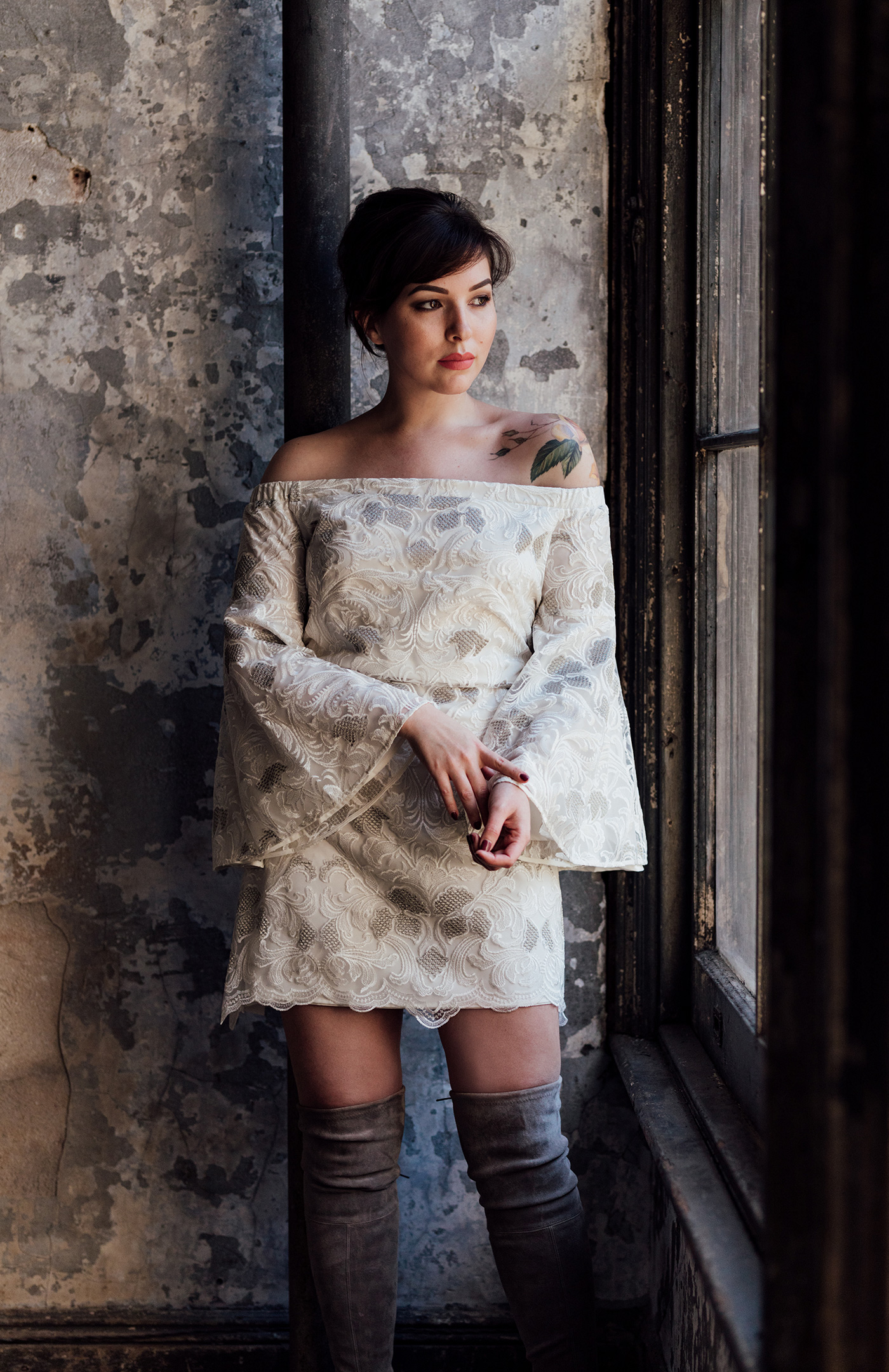 mestiza off the shoulder bell sleeve dress
