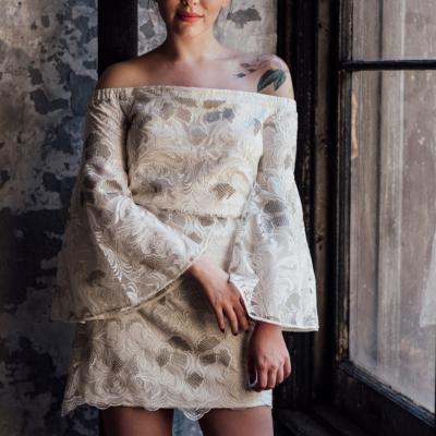 mestiza off the shoulder bell sleeve dress