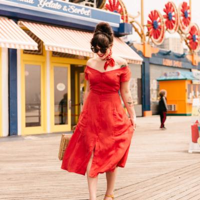 red linen reformation dress
