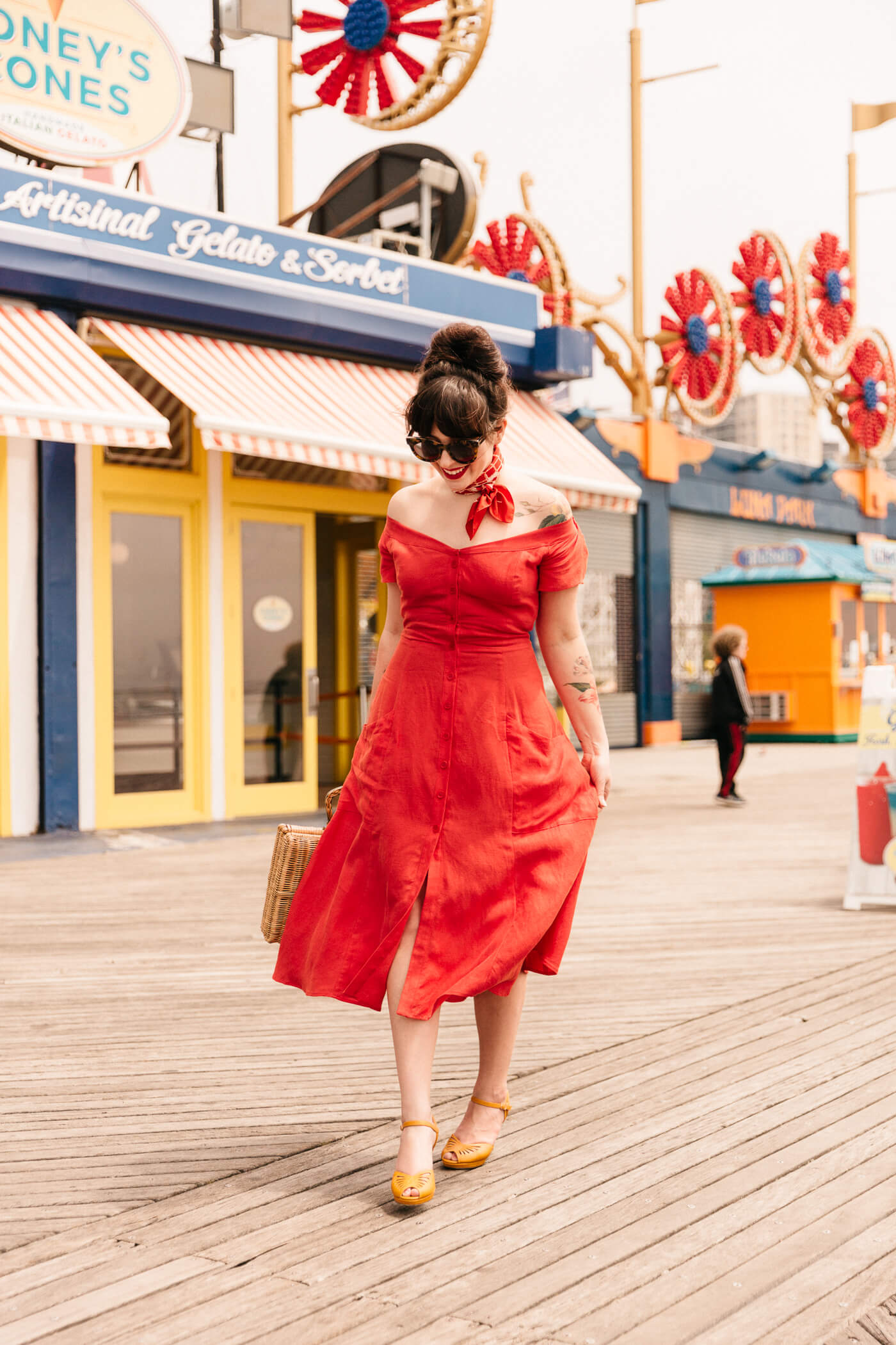 red linen reformation dress