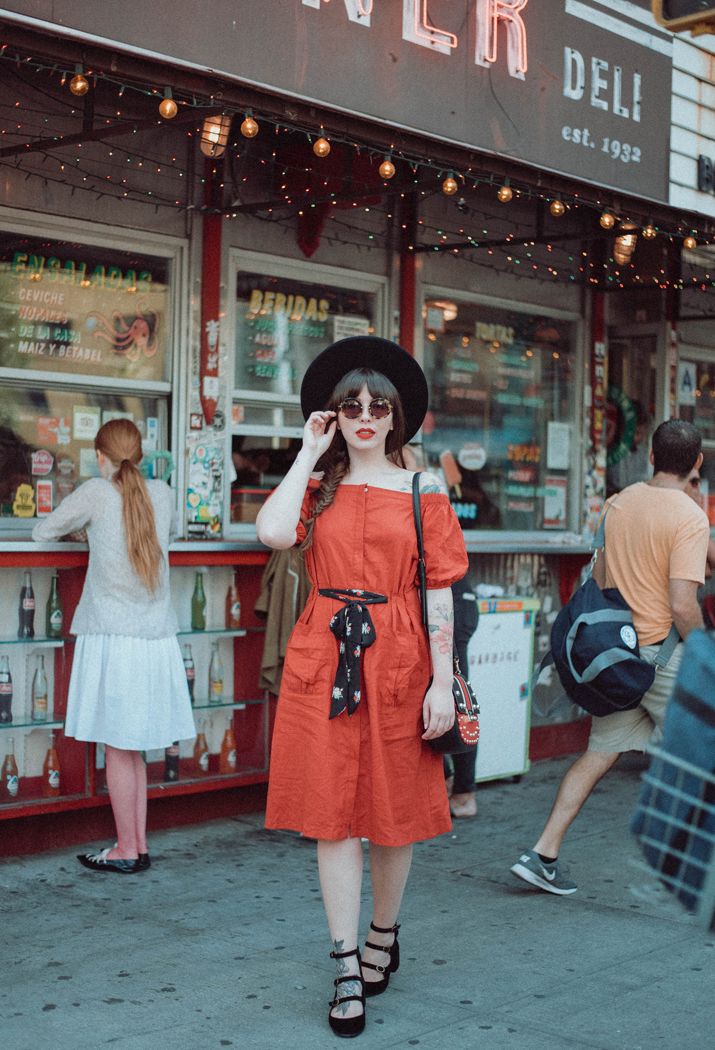 d.ra red linen dress on keiko lynn