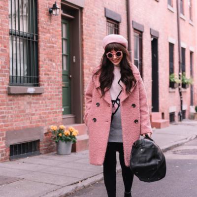pink topshop coat alicia boucle