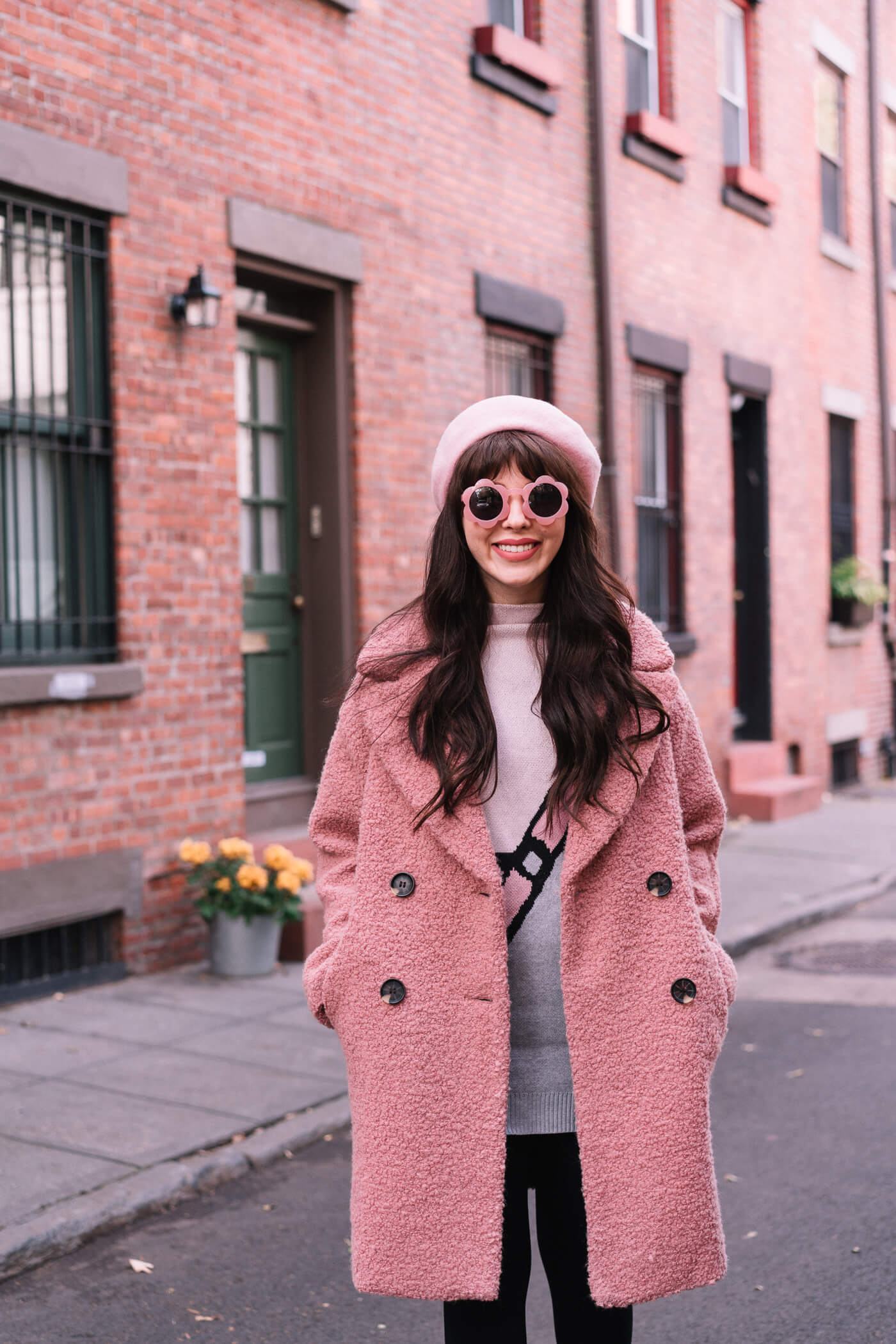 pink topshop coat alicia boucle