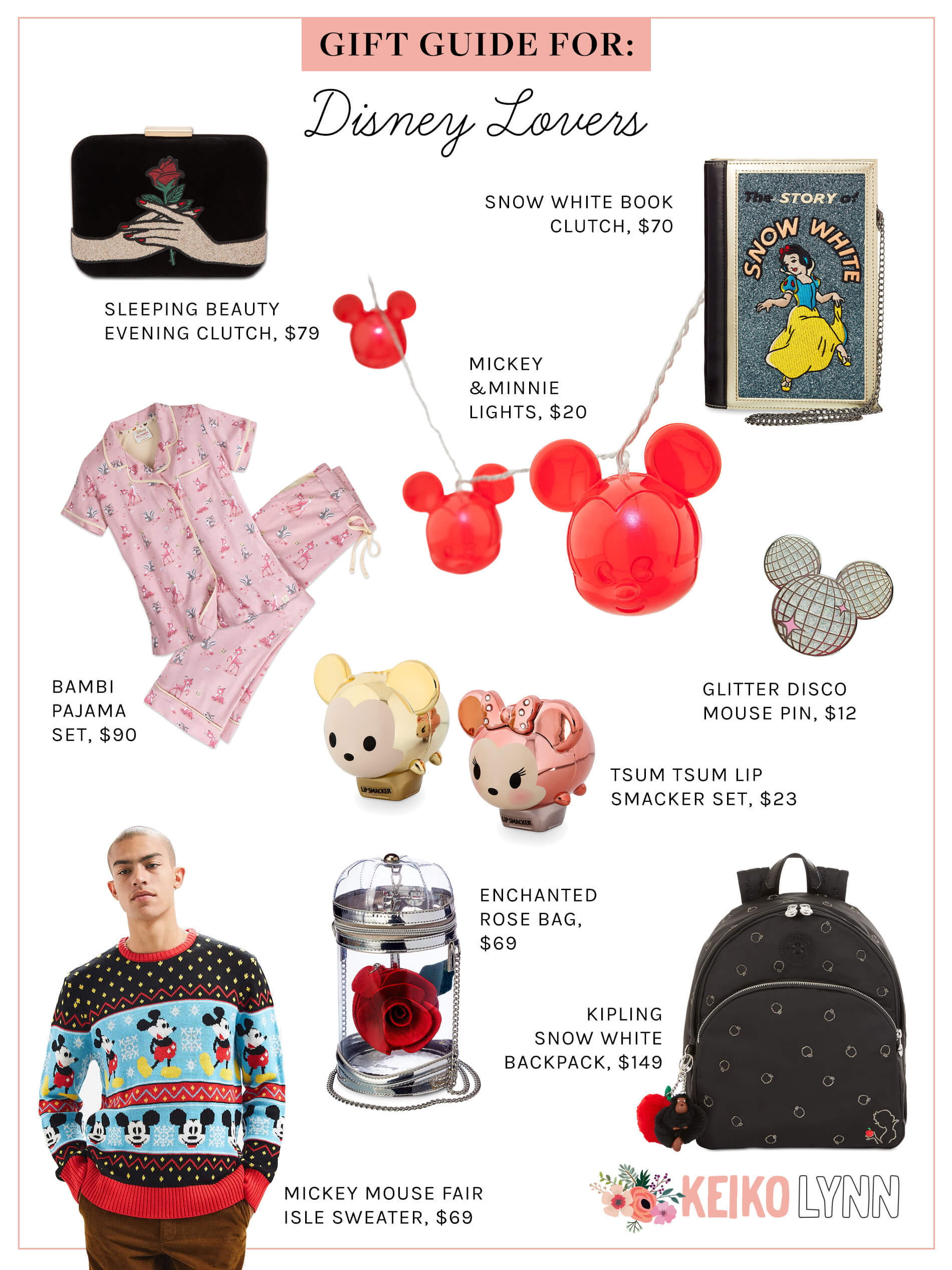 disney gift guide, gift guide for disney lovers, mickey mouse gift guide, snow white gifts, sleeping beauty gifts