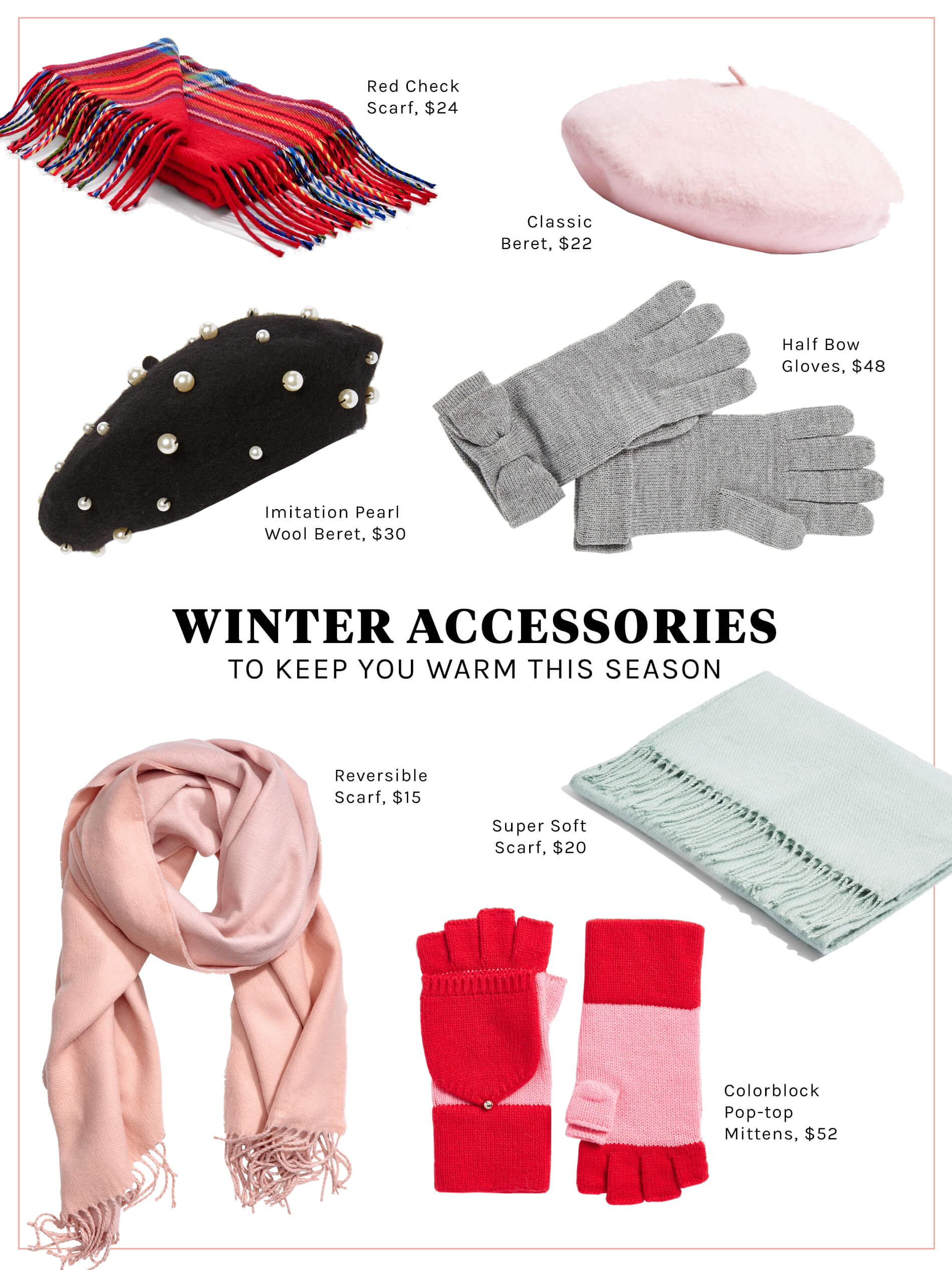 winter accessories, what to wear to keep you warm, cute winter accessories, pink winter clothes