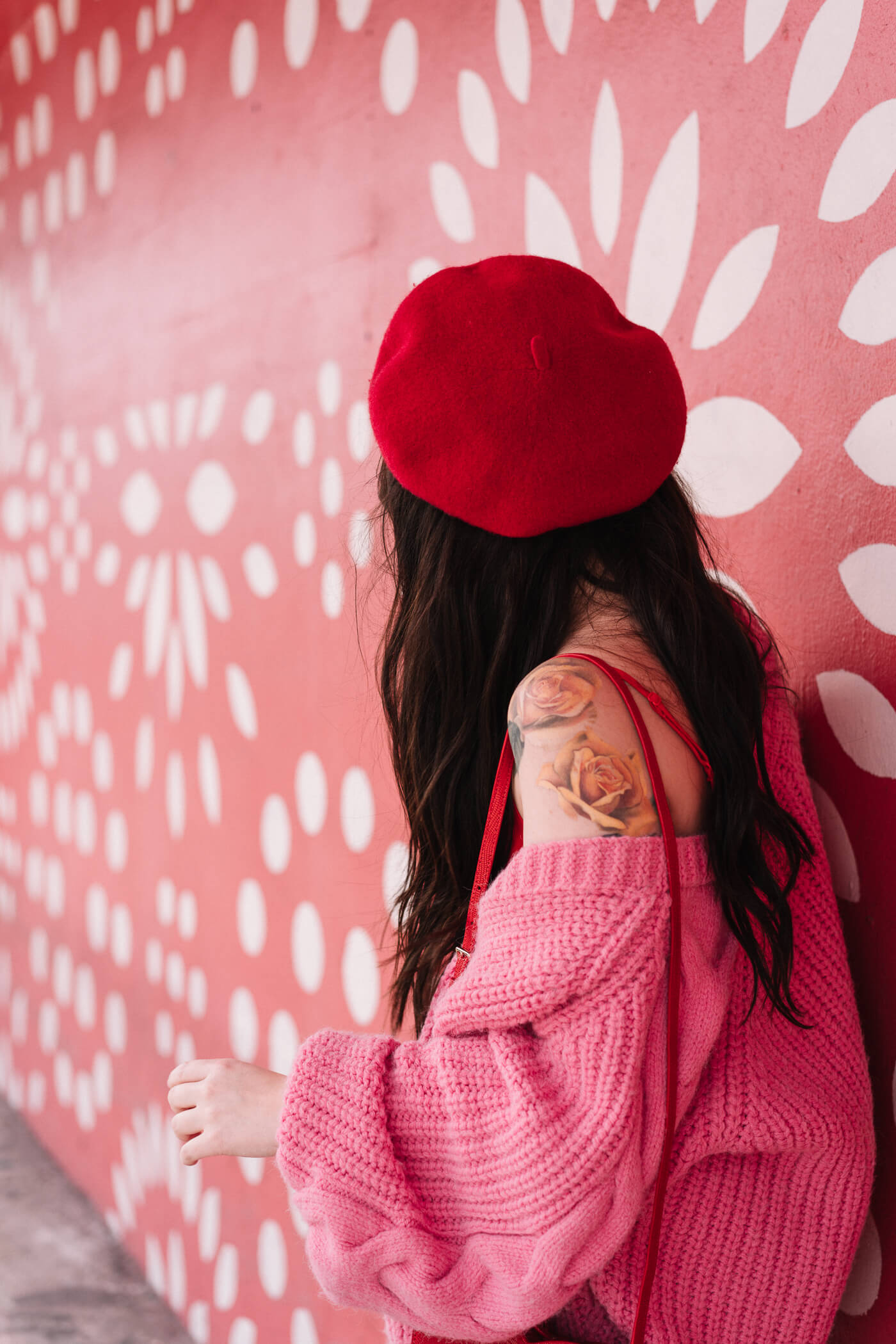 pink and red outfit, river island bright pink cardigan