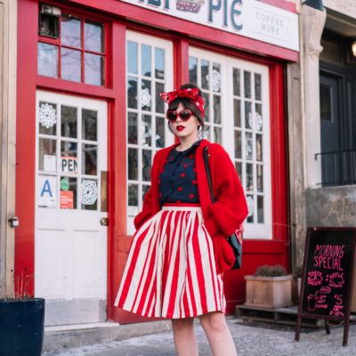 modcloth red white stripe skirt