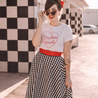 kate spade gingham skirt and ban.do hopeless romantic shirt