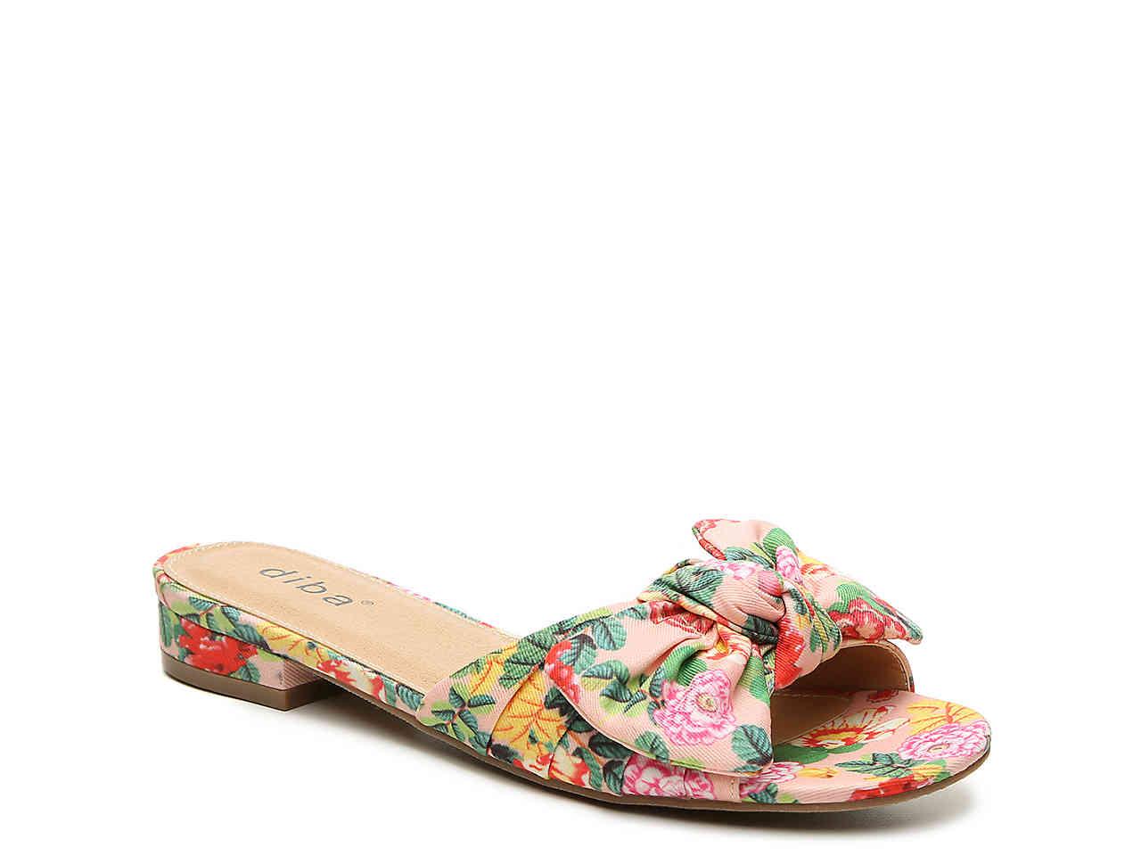 diba peach floral print sandals