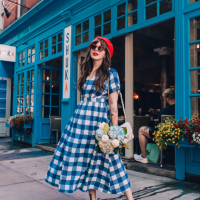 mara hoffman gingham wrap dress