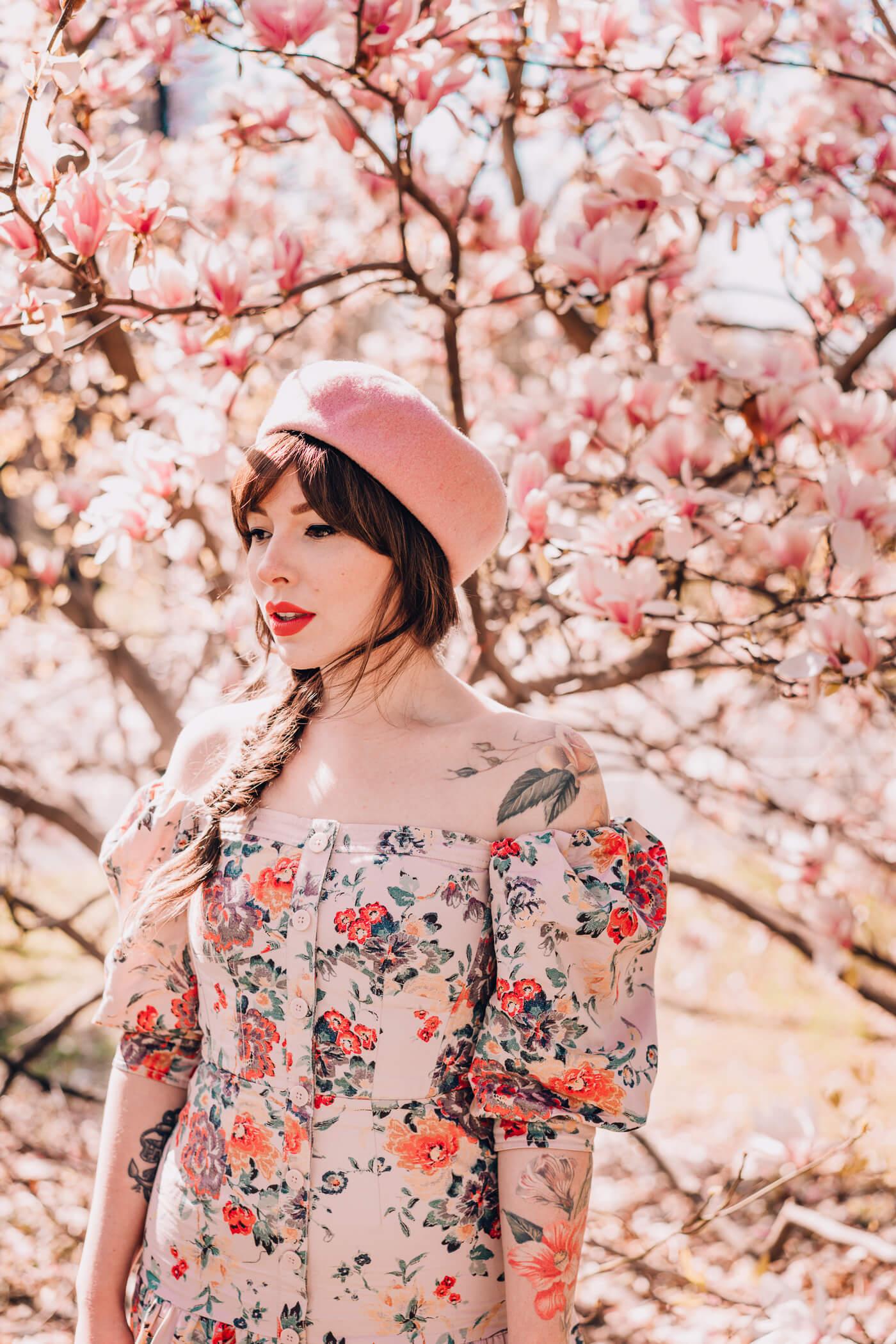rebecca taylor dress, summer floral dresses, off the shoulder pink summer floral dress 2018