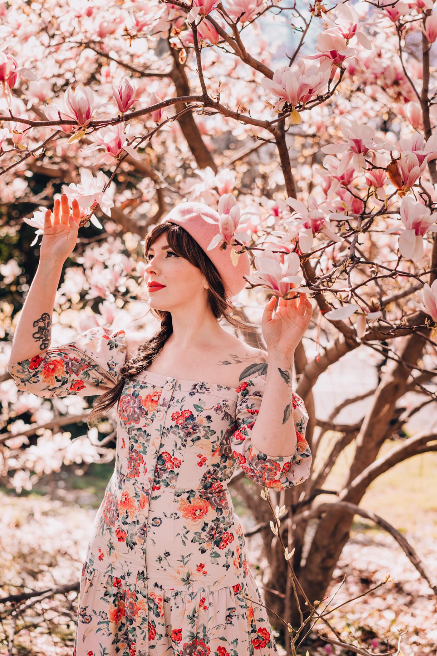 rebecca taylor dress, off the shoulder pink summer floral dress 2018