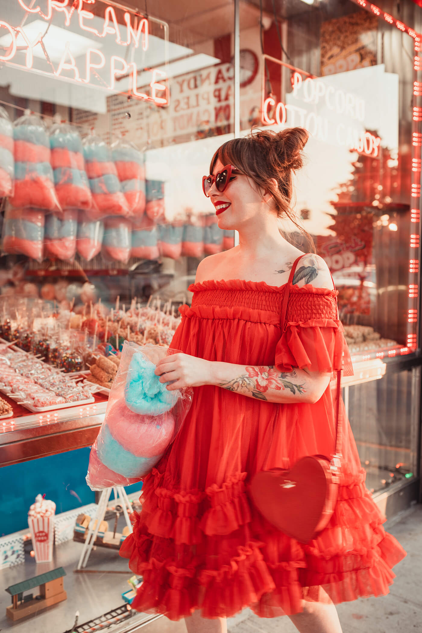 coney island red tulle tent dress