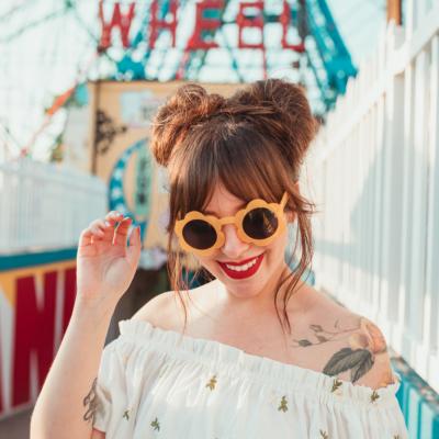 keiko lynn space buns hair tutorial