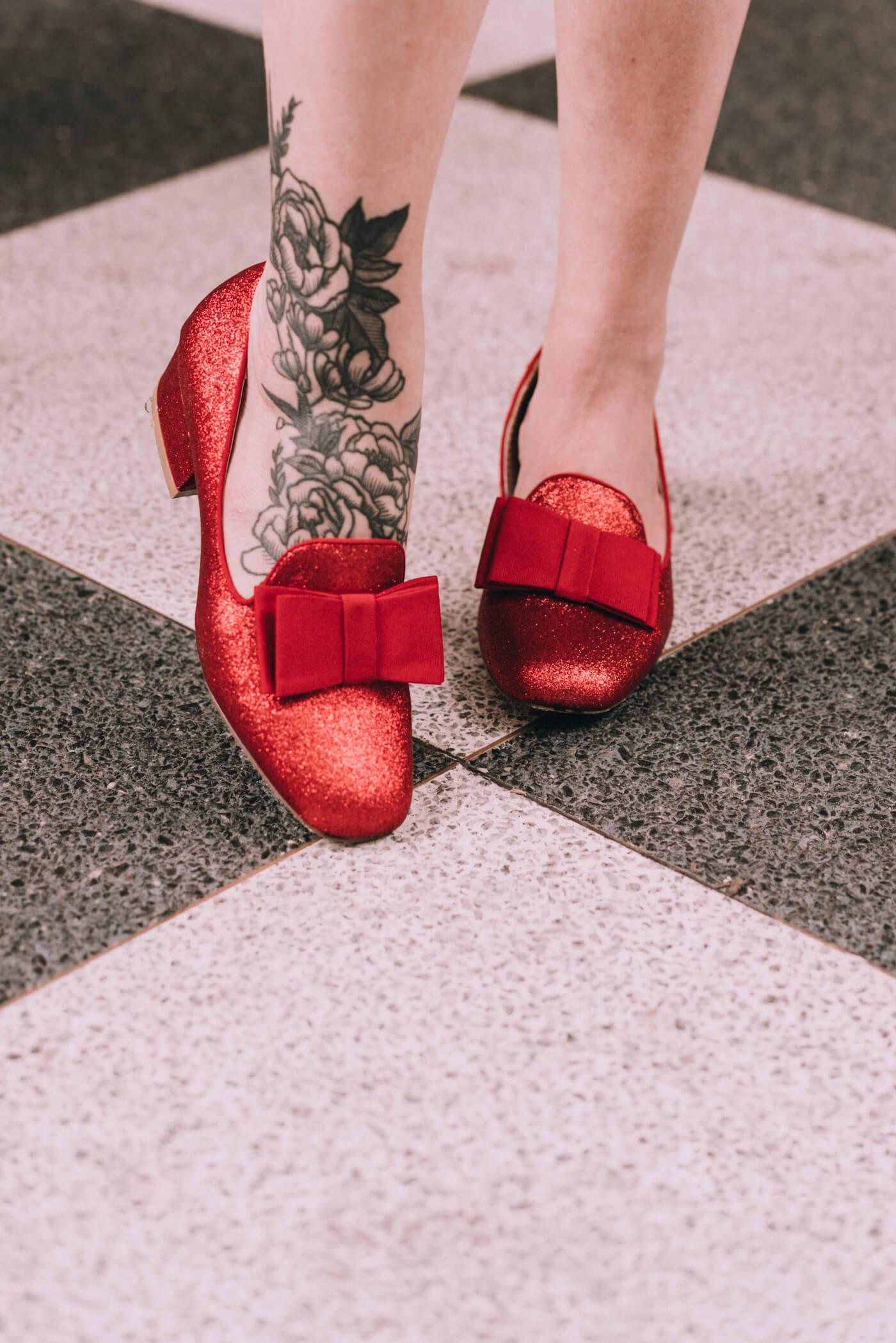 modcloth fall outfit ideas: B.A.I.T. footwear red glitter heels