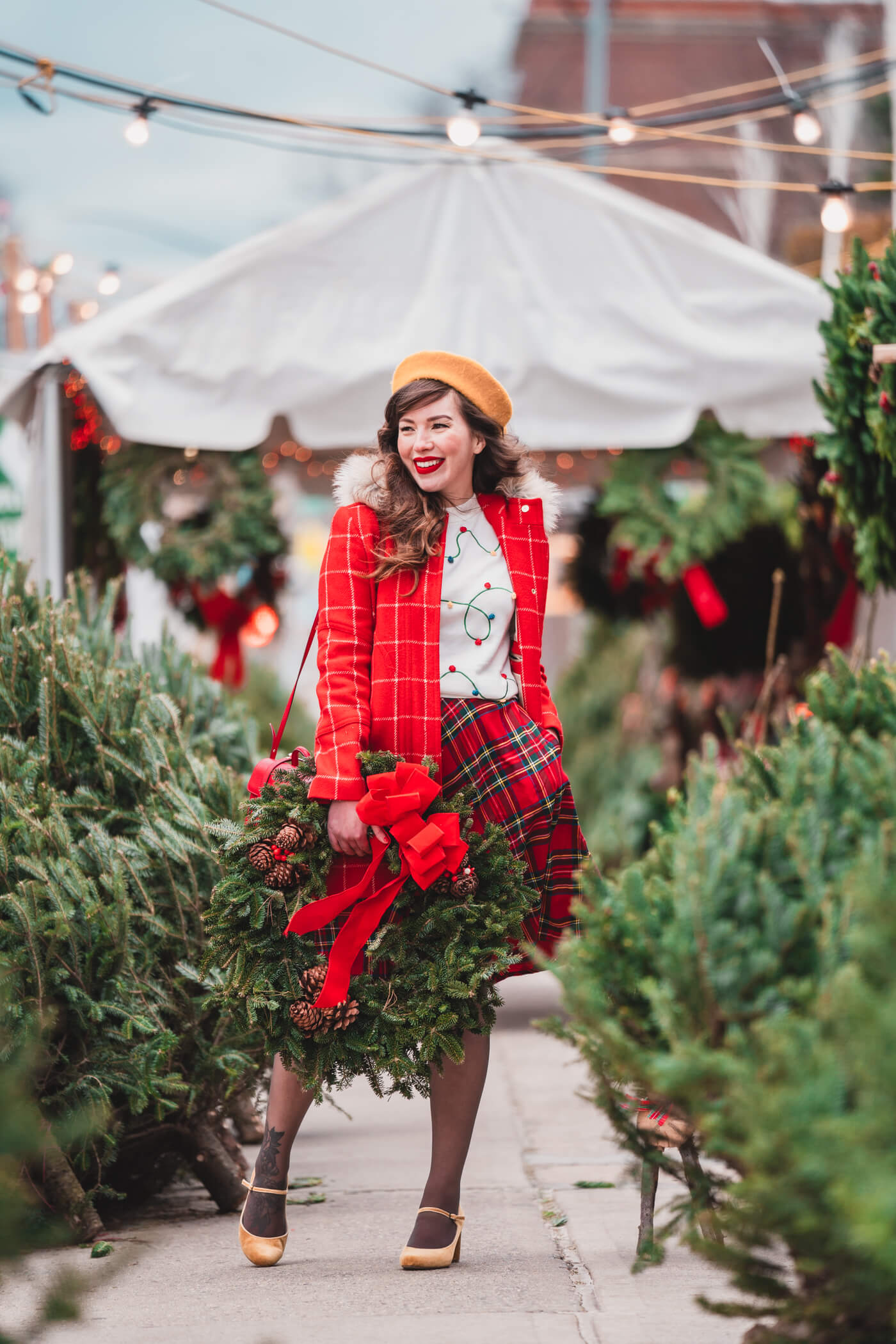 Christmas plaid skirt modcloth holiday outfit