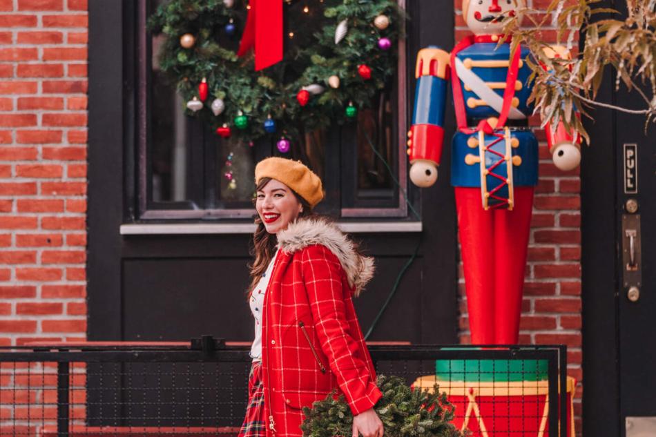 Christmas plaid skirt modcloth holiday outfit