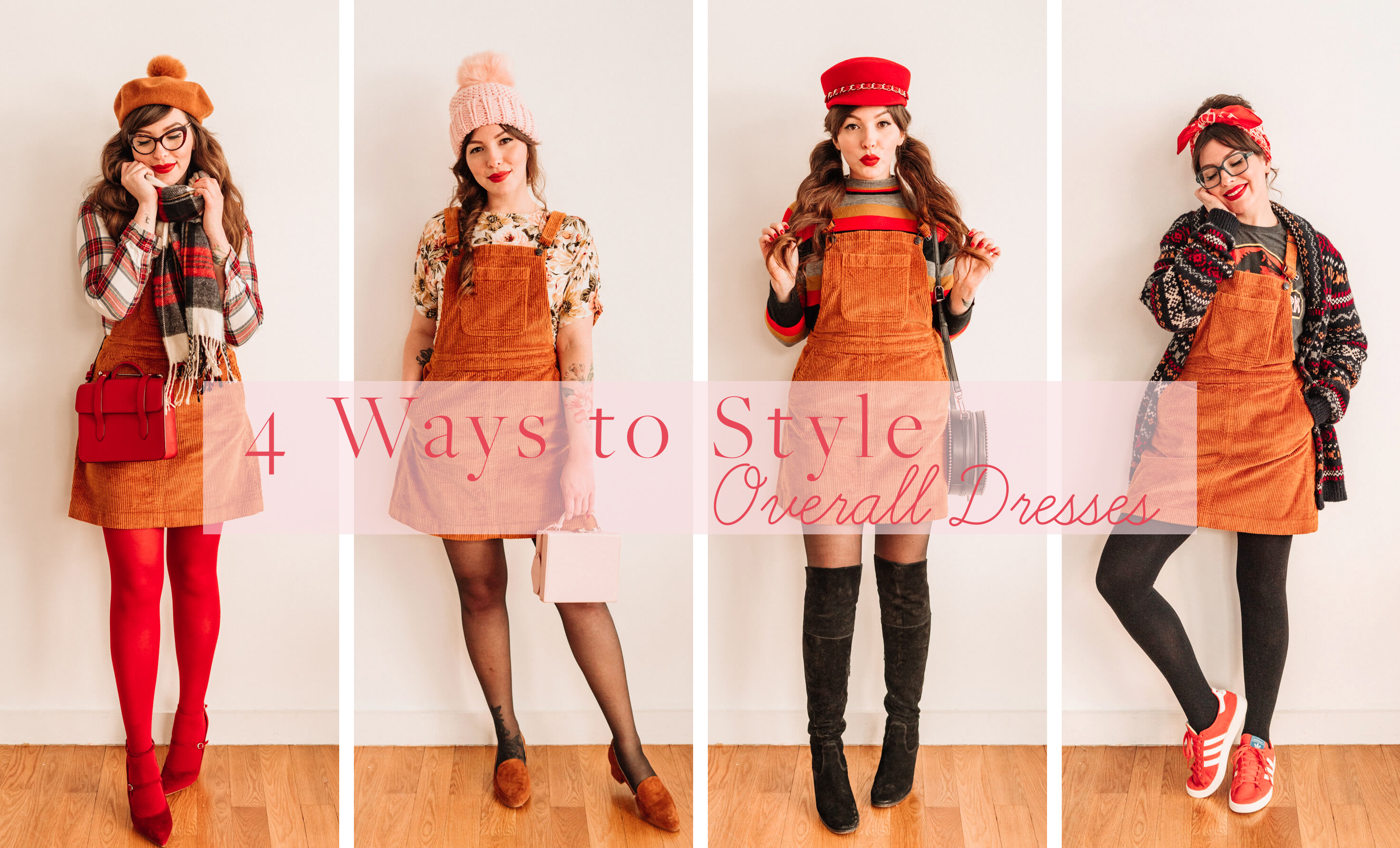 4 ways to style a corduroy overall dress
