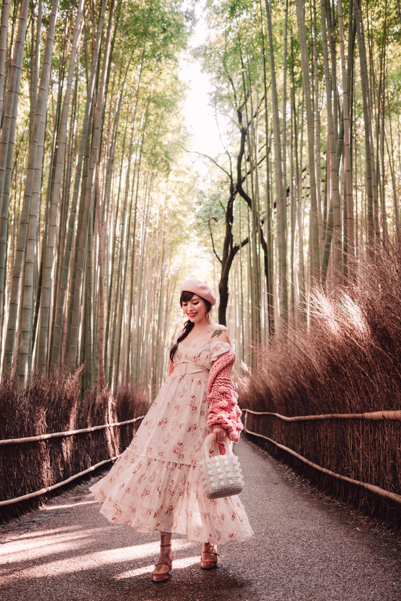 Keiko Lynn in Arashiyama Bamboo Forest, Kyoto, Japan