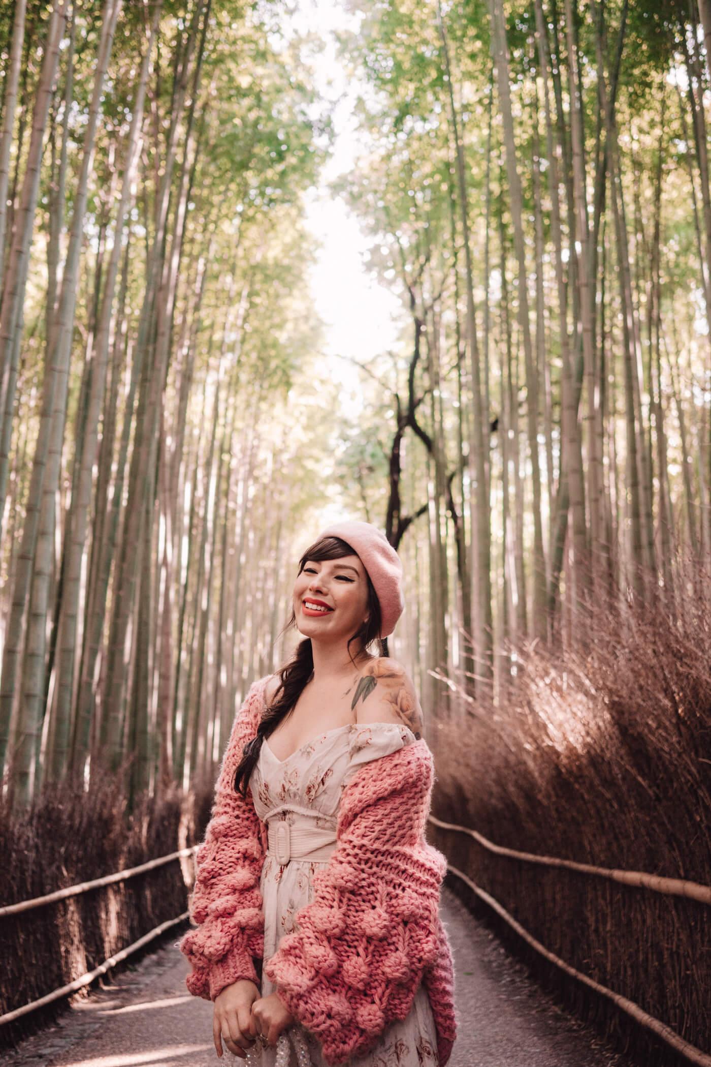 Keiko Lynn in Arashiyama Bamboo Forest, Kyoto, Japan.
