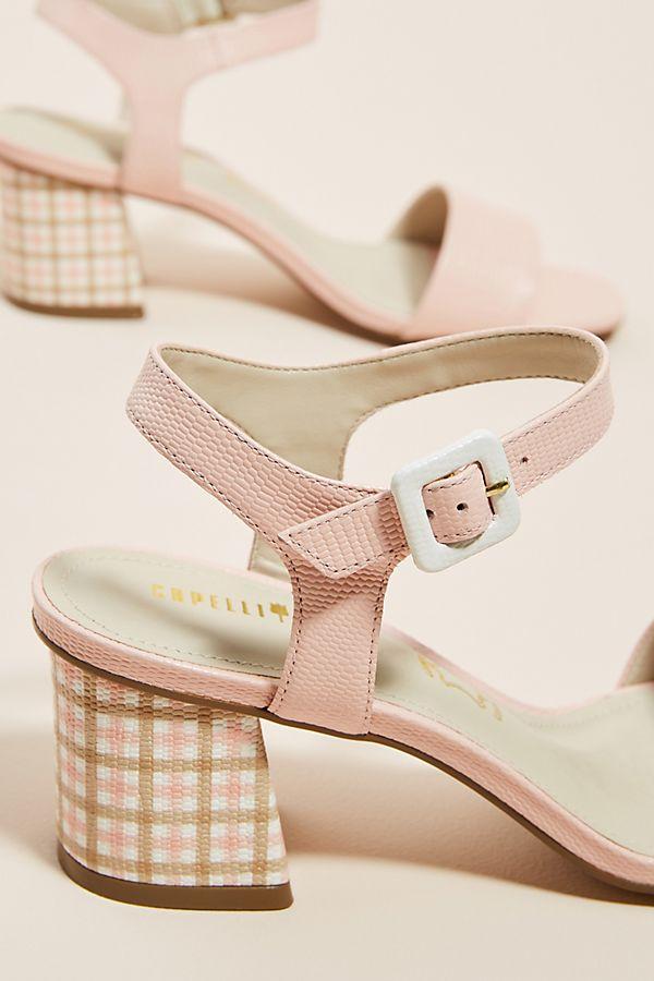 gingham heeled sandals