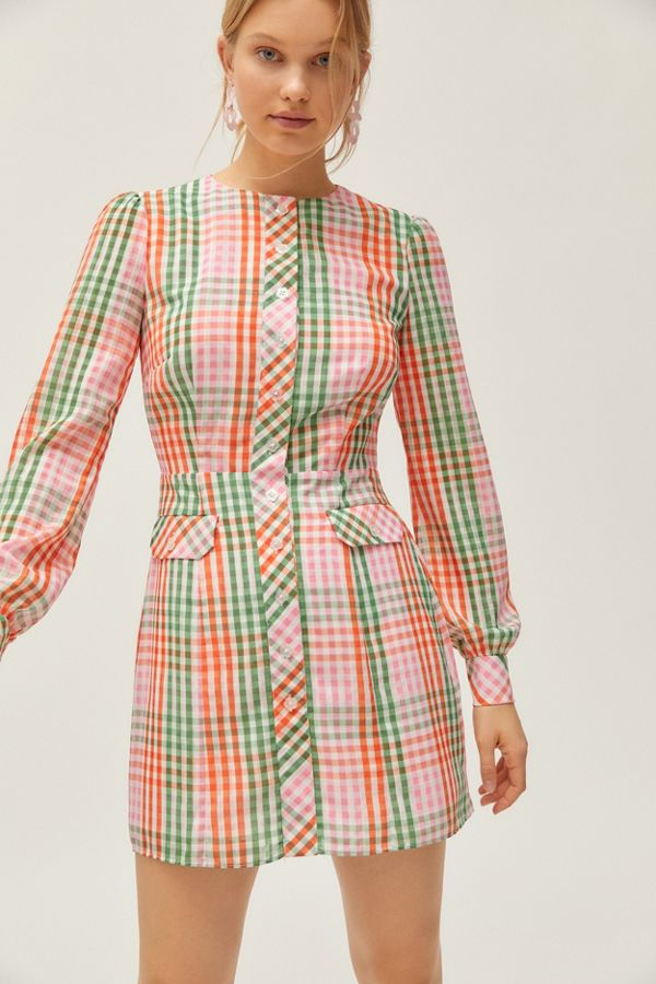 gingham long sleeve mini dress vintage inspired