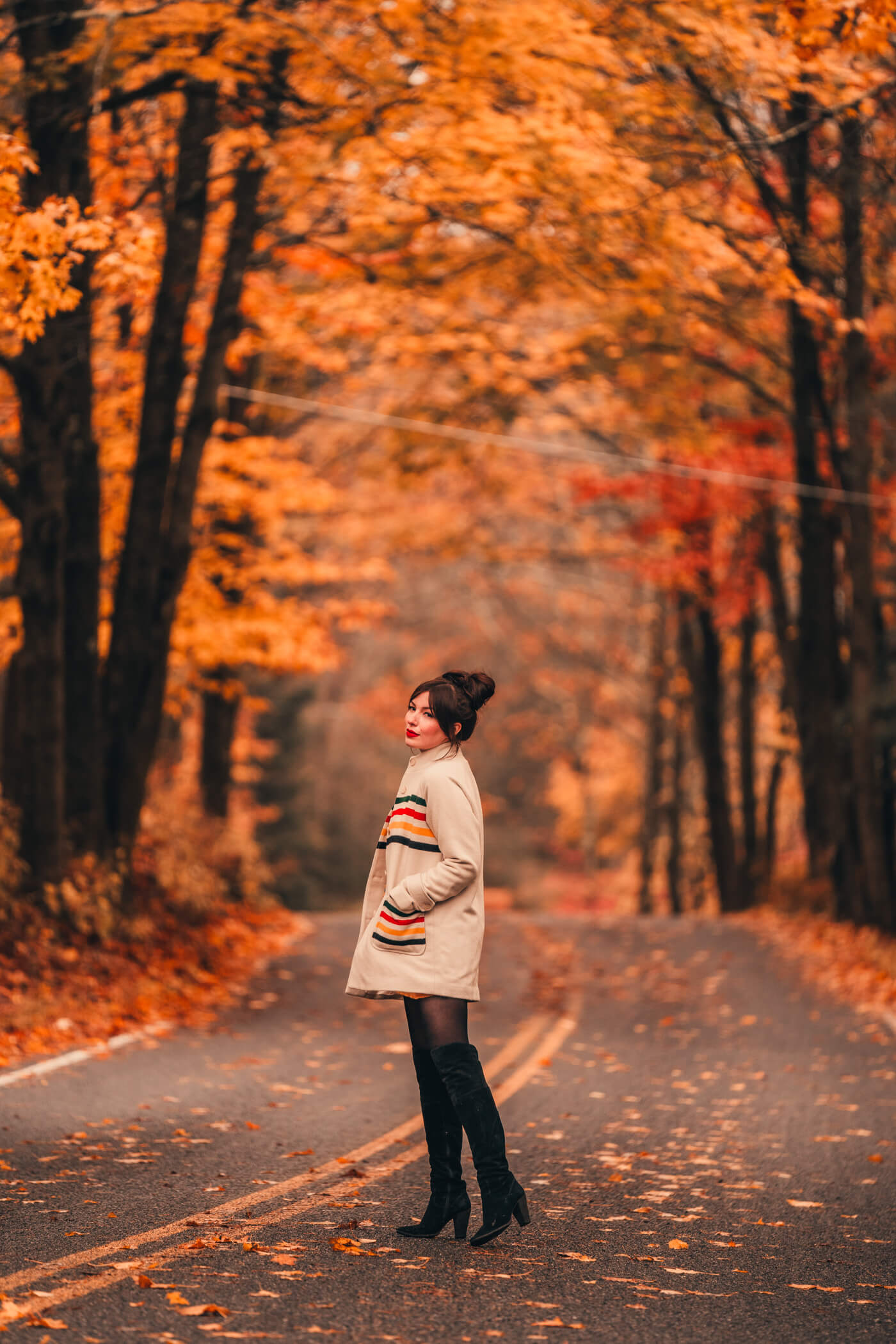 fall outfit: Pendleton glacier stripe coat