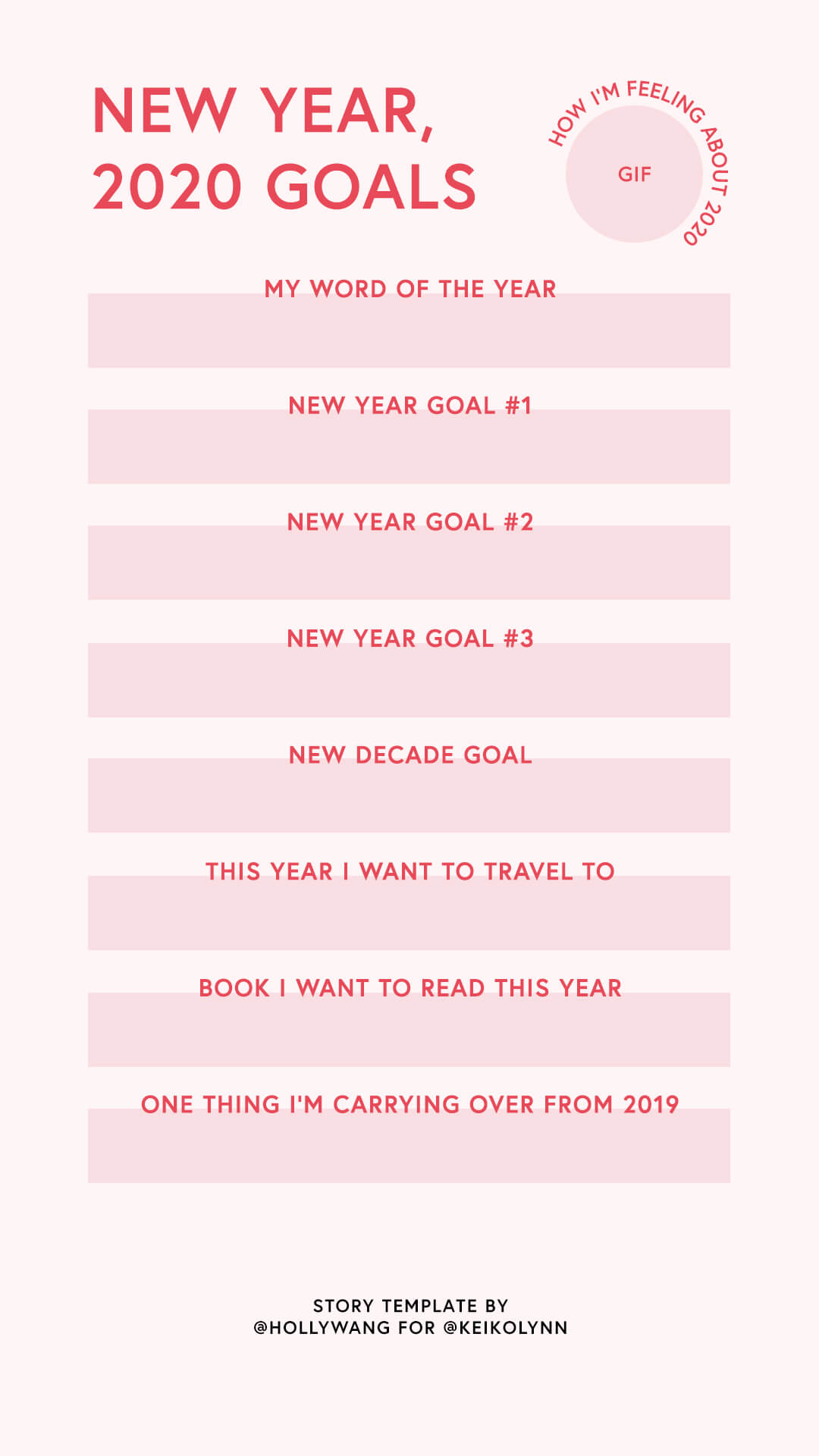 instagram story templates new year goals 2020